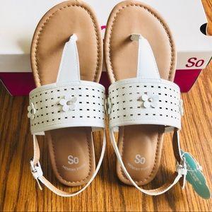 SO Girls White Sandals Memory Foam Sock Size 5 Med